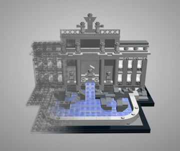 Lego Architecture Model mixed render modes