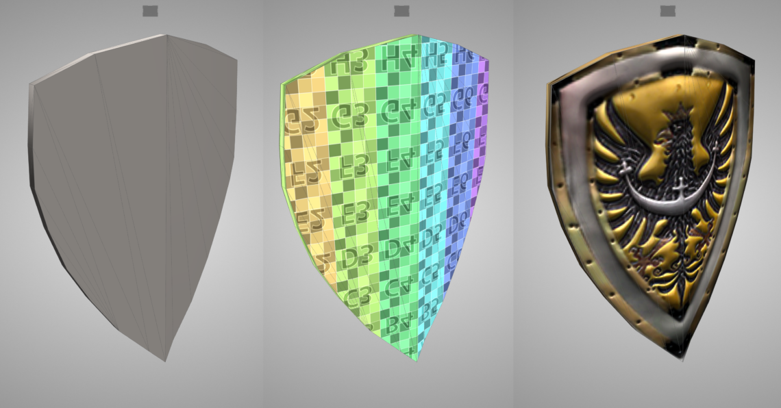 Shield model with diffuse, normal and specular map
