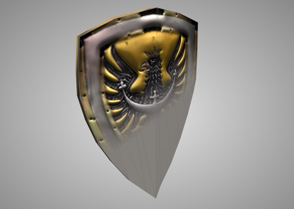 Shield model flat and with normal map applied