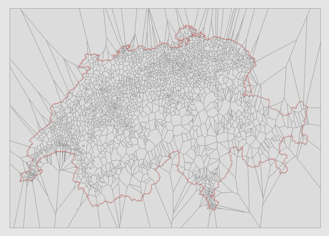 Switzerland reconstruction of postal code regions using Openstreetmap